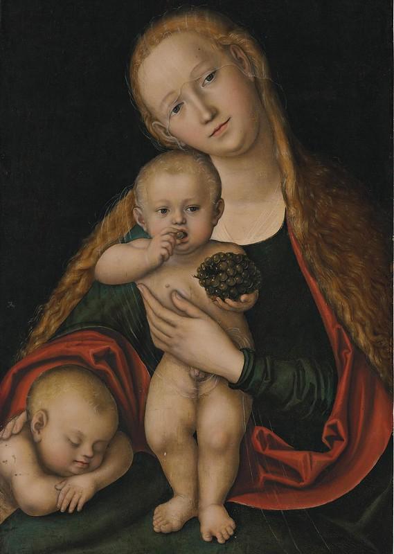 Lucas Cranach d.J. - Die heilige Jungfrau mit dem Kind und dem schlafenden Johannesknaben (c.1537)