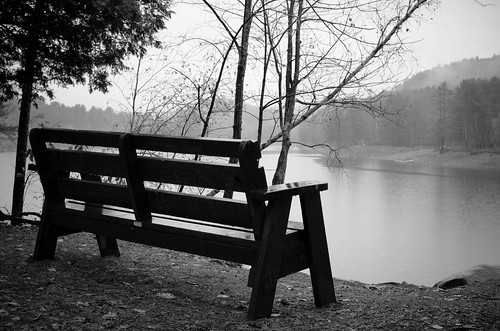 park autumn bw ny rain fog river bench blackwhite northville adirondackmountains sacandagariver nikkor35mmf18gdx nikond7000