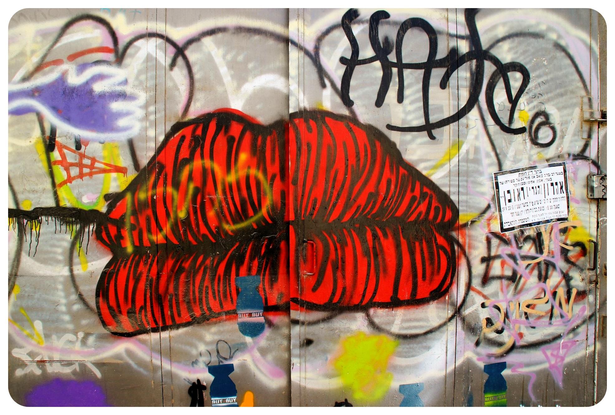 Tel aviv florentine street art lips