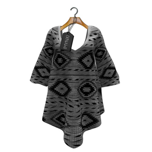 {MYNX} Sweater Poncho - Gray Aztec