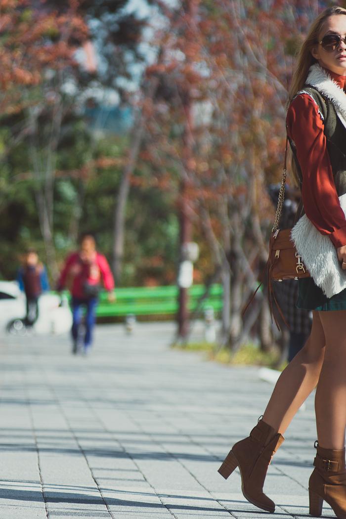 Olga choi fashion blogger myblondegal South Korea elegant smart chic 70s style Neiman Marcus faux fur vest Larmoni denim button skirt H&M rust blouse Rebecca Minkoff bag Celine sunglasses ONecklace Charles&Keith boots-08202
