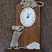 Corian Mice on Oak Clock by Rowdy Rebel1