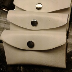 Grade a finished in white garment leather tools business card case/wallet.