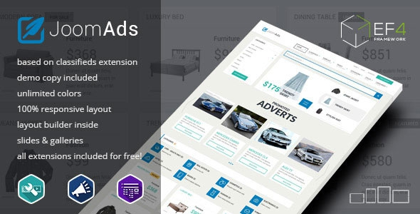 Themeforest JoomAds v1.01 – multipurpose listings site Joomla Theme