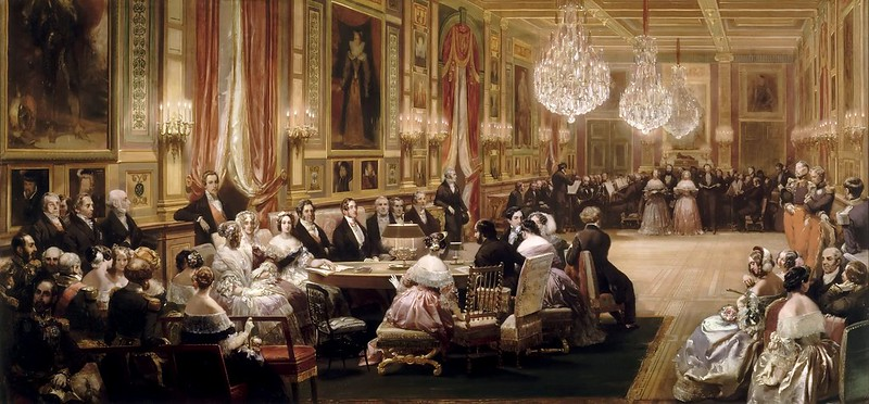 Eugene Louis Lami - Concert in the Gallerie des Guise at Chateau d'Eu (1844)