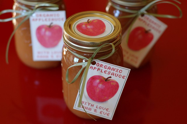 Jars of homemade organic applesauce with label by Eve Fox, the Garden of Eating, copyright 2007