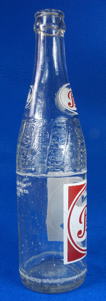 RD14691 1957 Pepsi-Cola Bottle 12 oz Raised Swirl with Painted Red & White ACL Label DSC07704