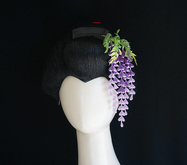 Cascading Purple Wisteria Tsumami Kanzashi 304