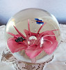 Vintage Large Round Art Glass Paperweight w/ Pink Flower and Butterflies