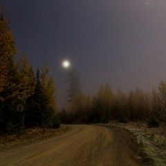 Moon, stars, and Venus in a frosty haze, 4 AM, Bearskin Lodge on the Gunflint Trail.  Photo by John Finnegan.  #bearskinlodge  #gunflinttrail #onlyinmn #grandmarais #eastbearskinlake