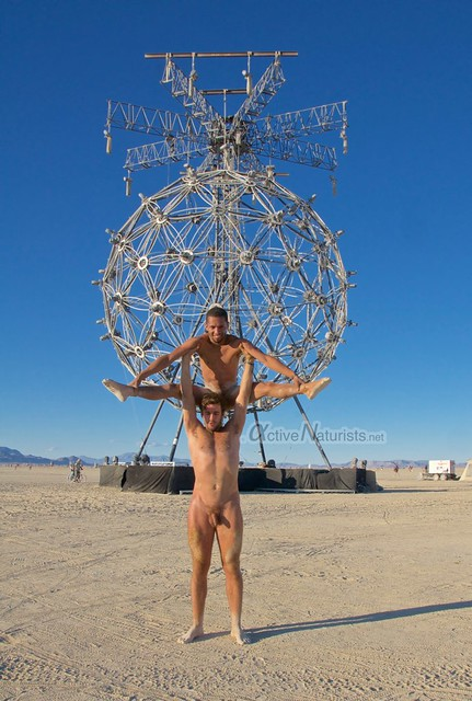 naturist acro-yoga gymnasium 0006 Burning Man 2015, Black Rock City, Nevada, USA