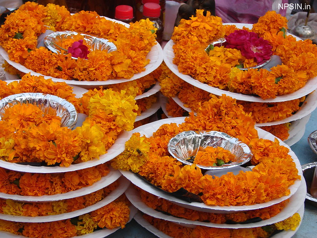 Puja flower outside the temple