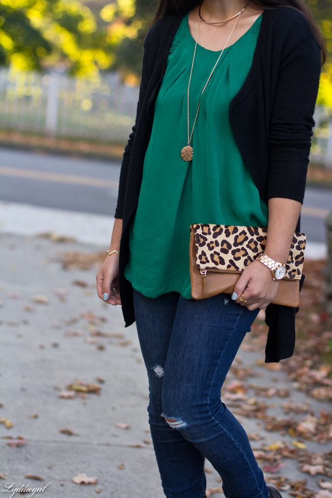 green silk blouse, black cardigan, leopard clutch-7.jpg