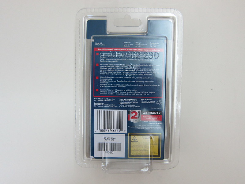 Bosch GLM 35 Laser Measure - Packaging Back