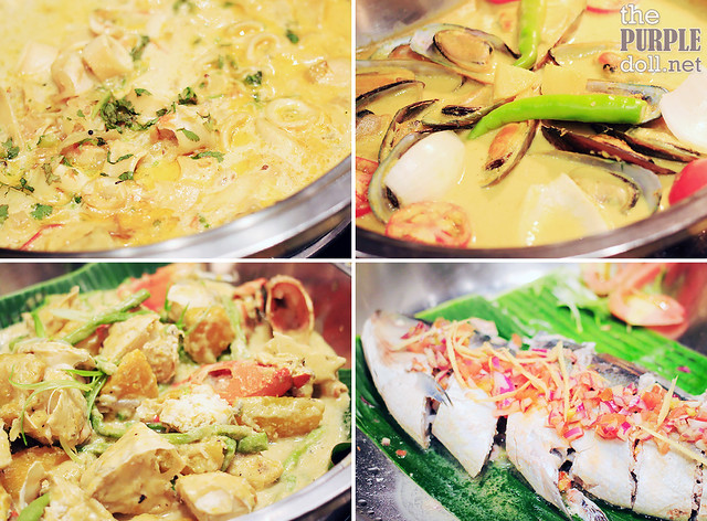 Hot Dishes - Squid Malabari, Mussels in Cream, Ginataang Alimasag, Pinaputok na Tilapia