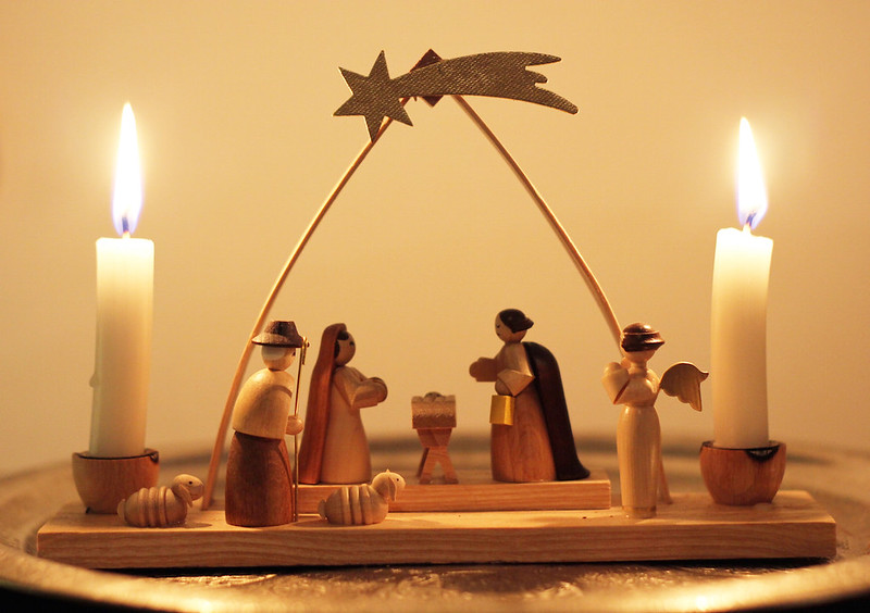 Hand carved wooden miniature Nativity scene