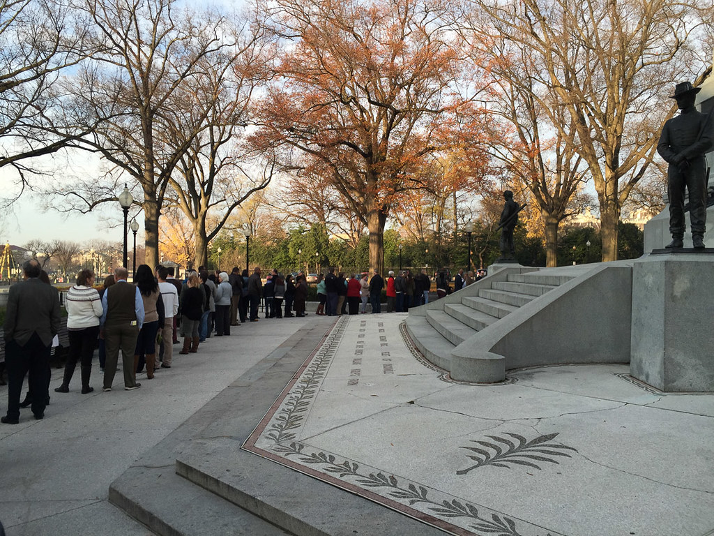 Standing in Line for White House Tour Entrance
