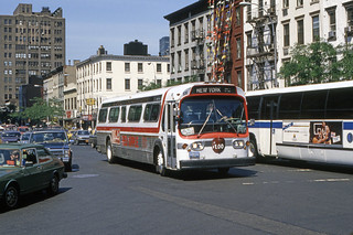 US NJ Hoboken Red Apple Bus Co. GMC Fishbowl #106 - New York City 9th Ave @ 42nd Street