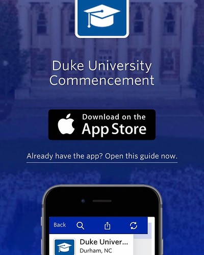 Commencement is just around the corner and now it's gone mobile! Access the schedule, maps, reminders and more on your iPhone/Android, free! #duke2017 #dukecommencement #graduationday