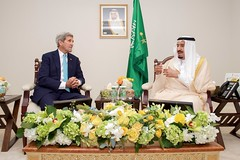 U.S. Secretary of State John Kerry sits with King Salman bin Abdulaziz of Saudi Arabia at the Four Seasons Hotel in Washington, D.C., on September 3, 2015, during a bilateral meeting preceding the King's visit with President Barack Obama. [State Department photo/ Public Domain]