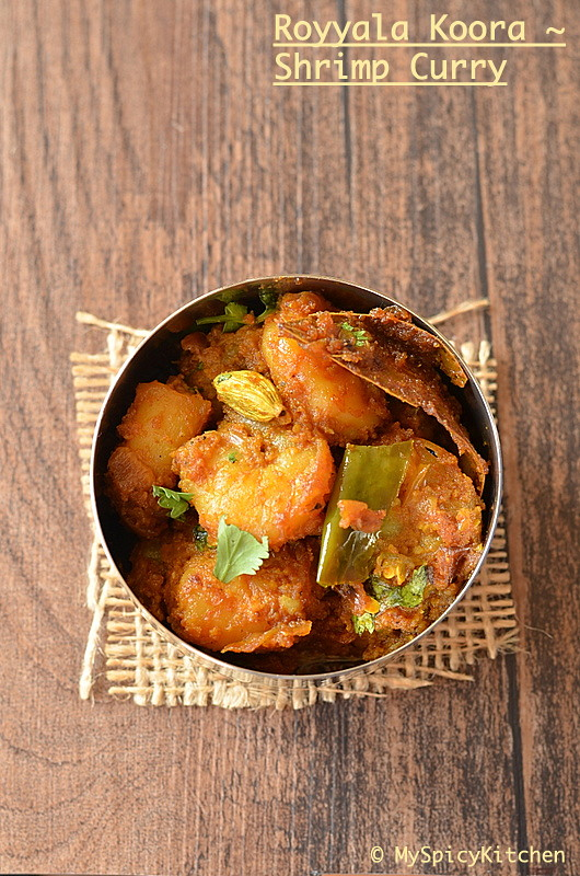 Blogging Marathon, Buffet On Table, royyala koora, prawn curry