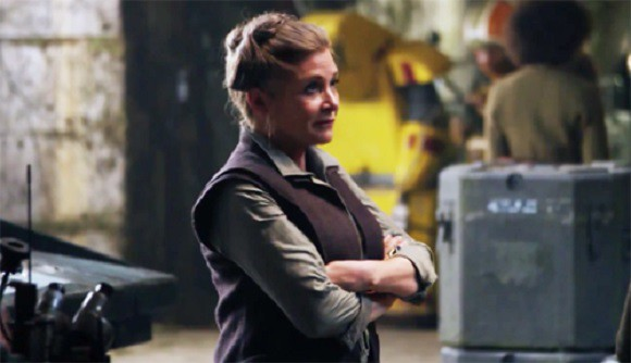 Carrie Fisher as Princess Leia in Star Wars: The Force Awakens.
