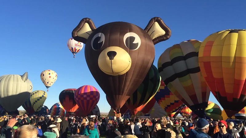 Bear balloon taking off.