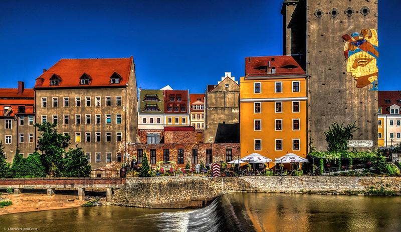 Görlitz (Zgorzelec), Blick vom Westufer der Neiße auf den polnischen Teil der Europastadt