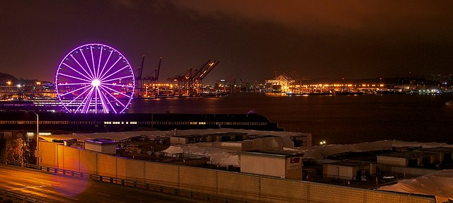 Seattle colorful ferry wheel at night