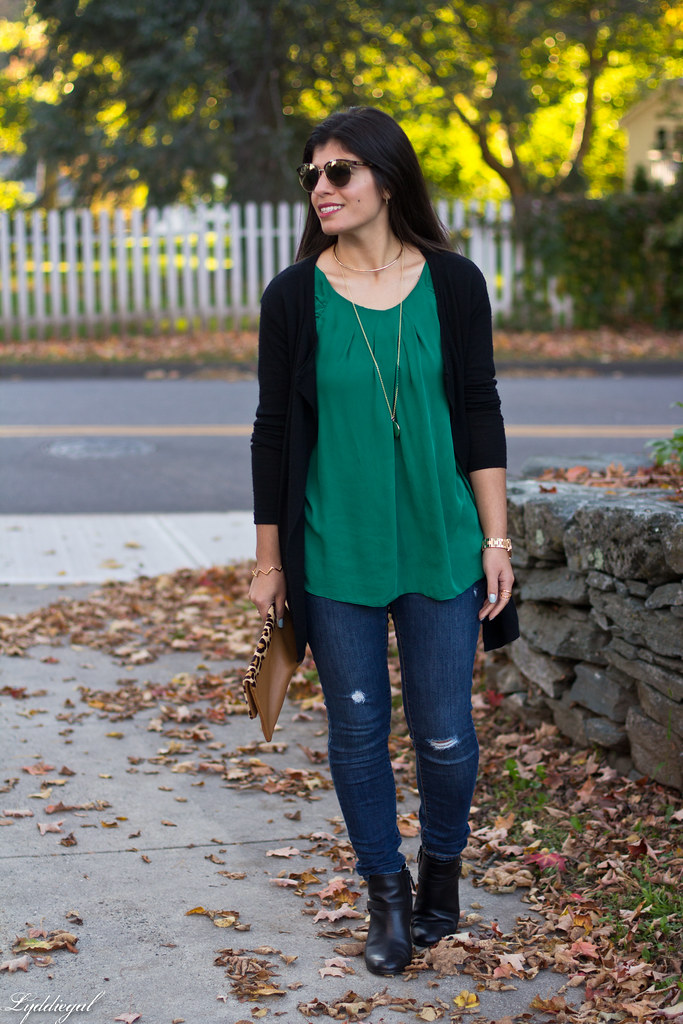 green silk blouse, black cardigan, leopard clutch-5.jpg