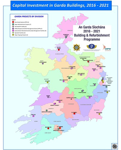 Map of Ireland indicating locations for Capital Investment in Garda Buildings & Refurbishment Programme, 2016-2021