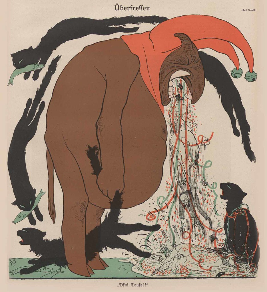 Karl Arnold - Overeating, 1925