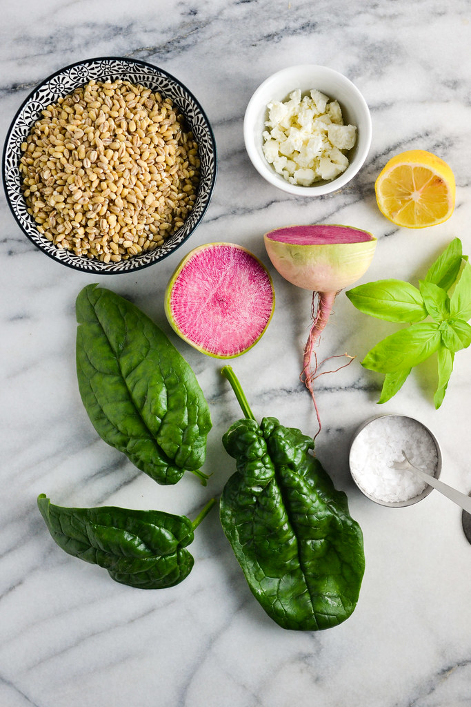 Watermelon Radish and Spinach Salad with Barley | Things I Made Today