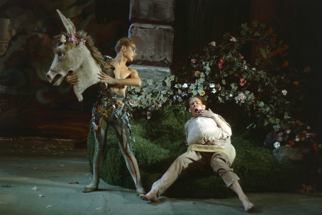 James Kennedy as Puck and Michael Hordern as Bottom in Act III of The Fairy-Queen, Sadler's Wells Ballet/Covent Garden Opera Company (1946). Photo by Frank Sharman