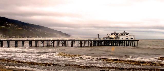 rainy dusk at the malibu pier
