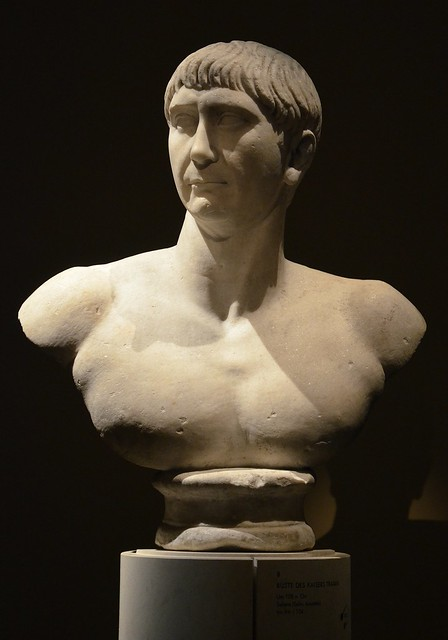 "Bust of Trajan, found in Salona (Solin, Croatia), ca. 108 AD, of the so-called ""Decennalia type"", Vienna Kunsthistorisches Museum, Austria"