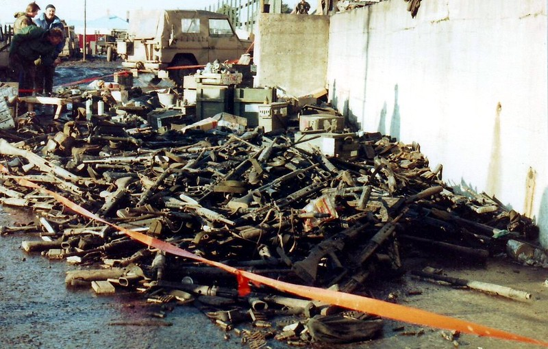 A pile of discarded Argentine weapons in Port Stanley after Falklands War