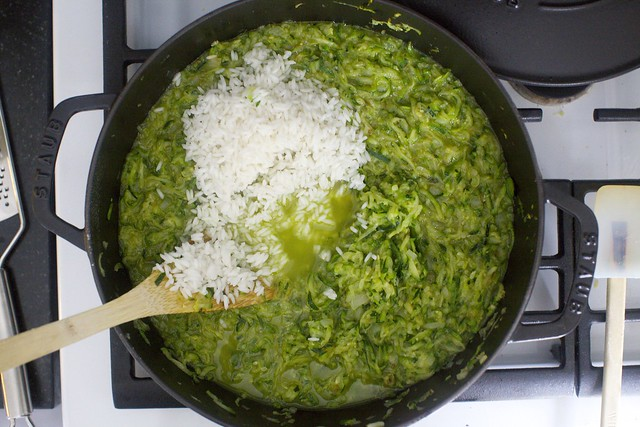 rice into a zucchini mass