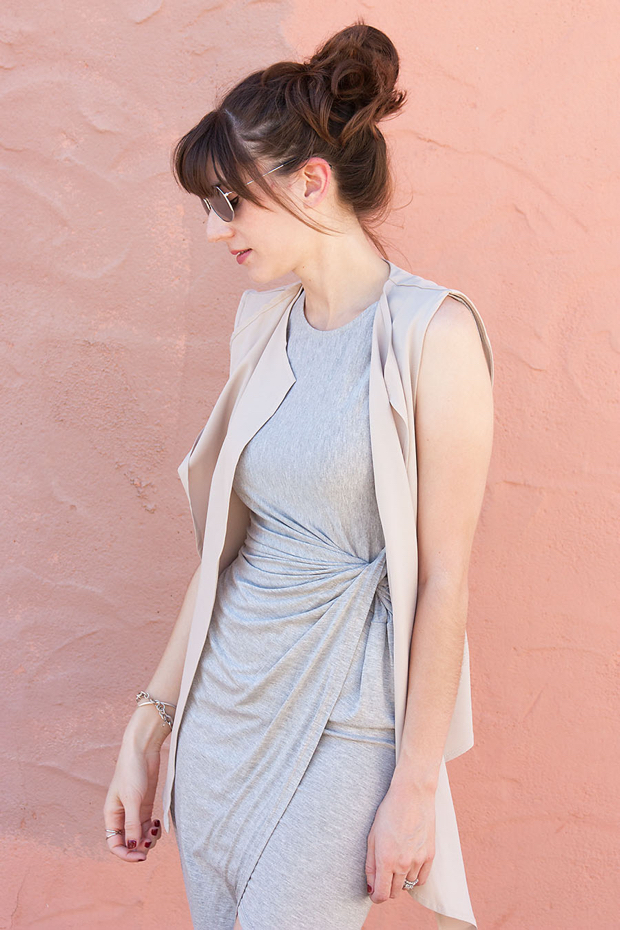 Grey Asymmetrical Midi Dress, Tan Sleeveless Vest, Neutral Layers, Lulu's Dress