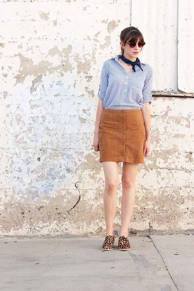 Suede Button Front Skirt, J.Crew Bandana Scarf, Marais Mules