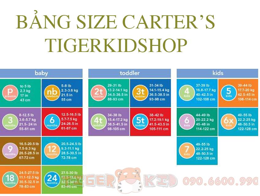 Quần áo trẻ em, bodysuit, Carter, đầm bé gái cao cấp, quần áo trẻ em nhập khẩu, BẢNG SIZE HÀNG CARTER'S