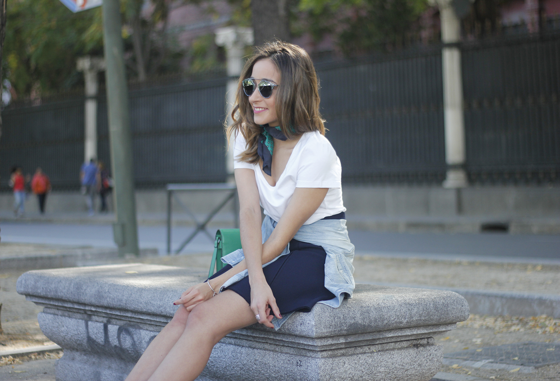 Blue Skirt Denim Shirt scarf Dior SoReal Sunnies19