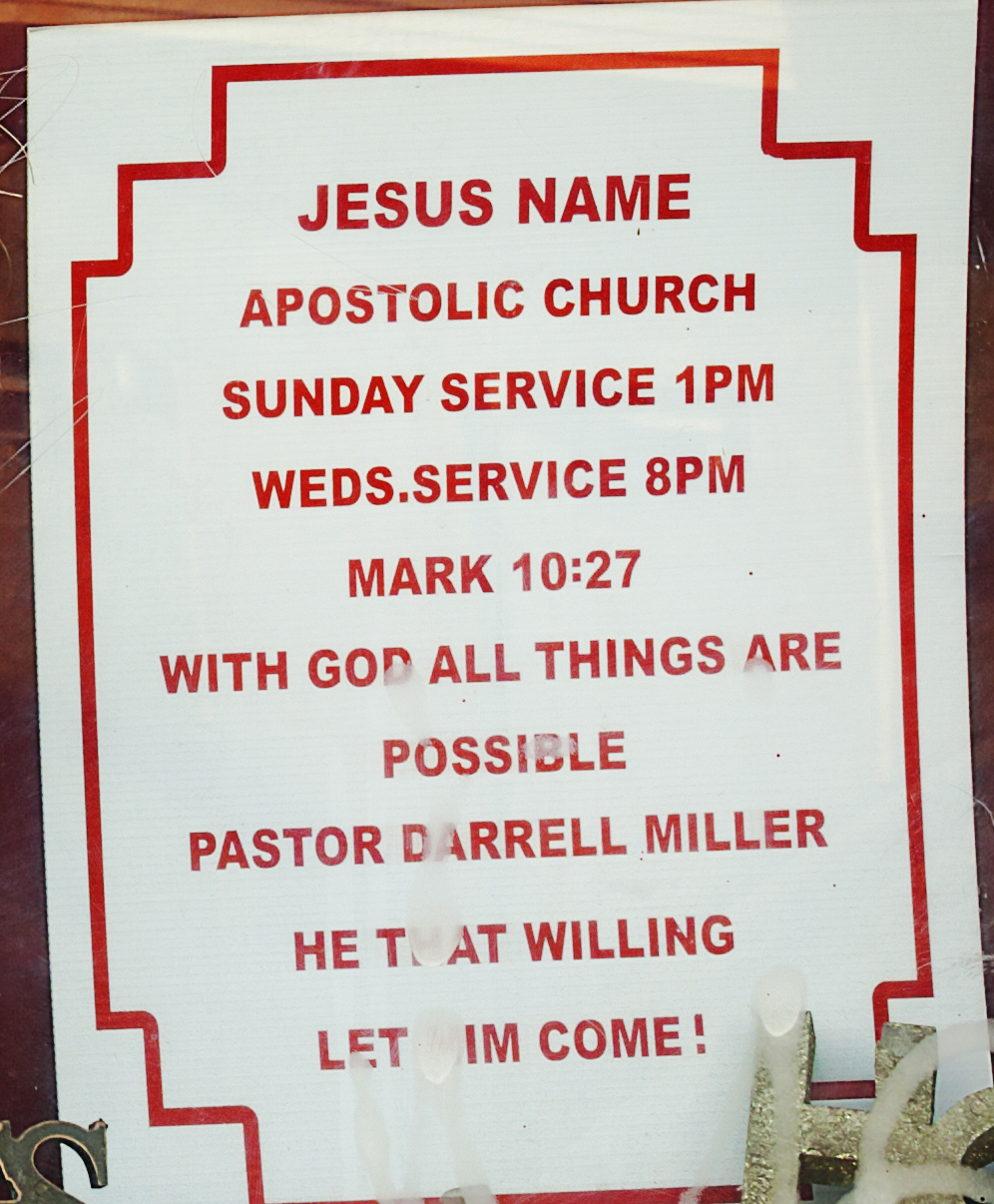 JESUS NAME APOSTOLIC CHURCH--Kensington (detail)