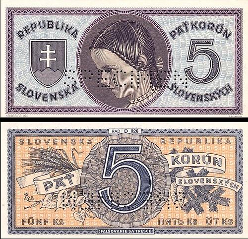 5 Ks Päť korún Slovensko 1945, specimen