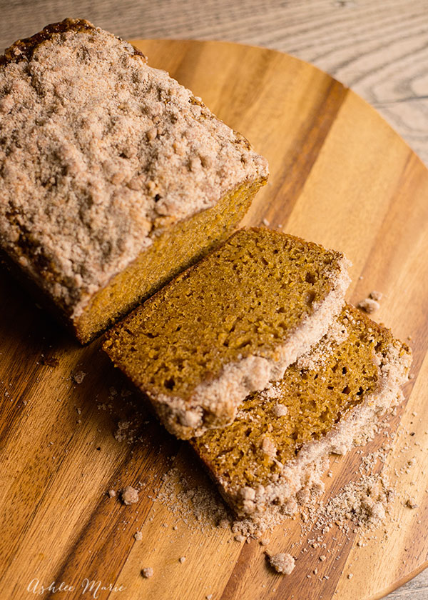 One of our fall favorites, the perfect pumpkin bread, mix with chocolate chips or top with this cinnamon streusel for a wonderful treat.