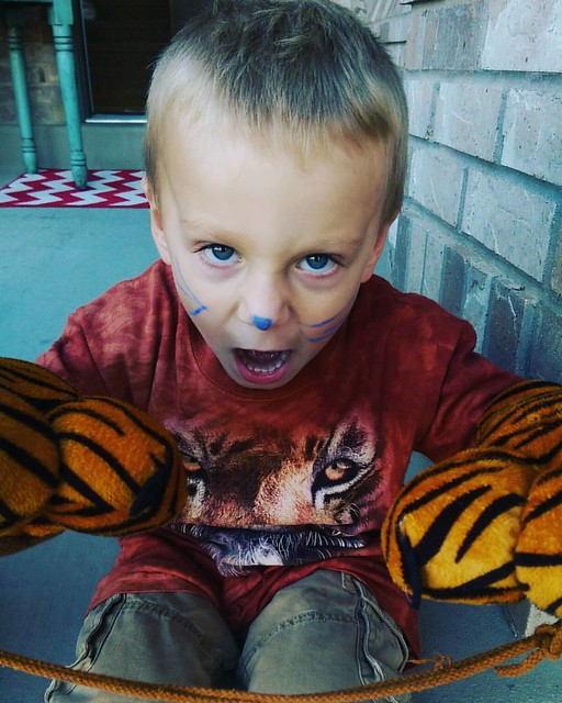 Tiger complete with blue whiskers, a Napoleon dynamite-esqe tiger t-shirt, abd some awesome claws.