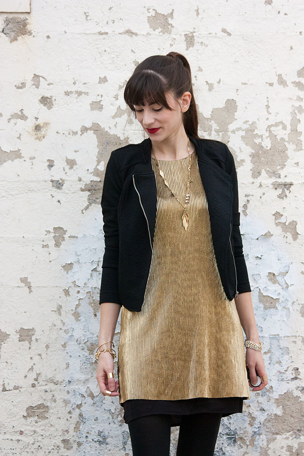 Gold Party Dress, Pleated Gold Dress, Black and Gold outfit