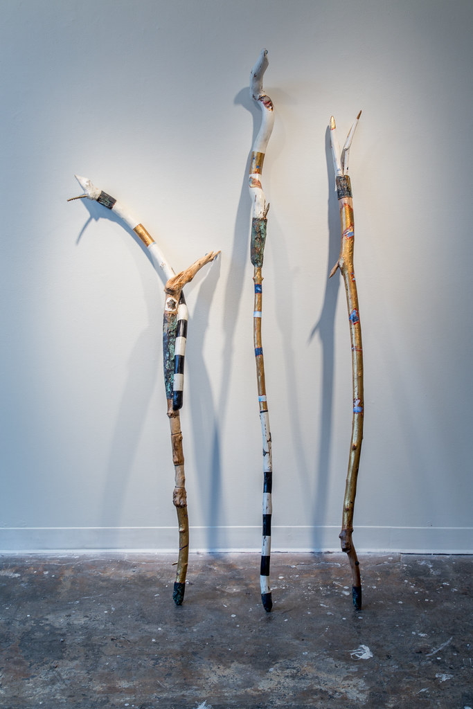 Three Spirit Staffs, 2016 Mixed media