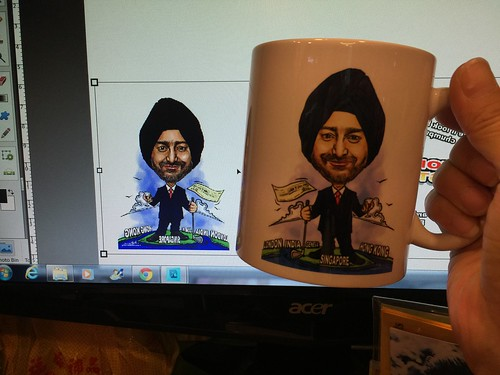 Digital boss caricature printed out on Art Paper and mug......