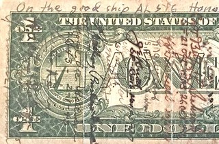 Theo Pozzy Hawaii short snorter dollar bill